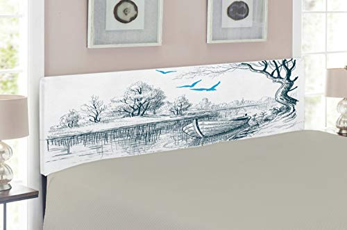 Ambesonne Landscape Headboard, Boat on Calm River Trees Birds Twigs Sketch Drawing Clipart Water Minimalist, Upholstered Decorative Metal Headboard with Memory Foam, for Full Size Bed, White Grey Blue (Twig Style Headboard)