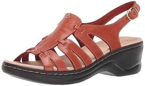 (CLARKS Women's Lexi Marigold Q Sandal, Rust Leather, 050 M US)
