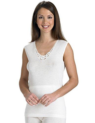 Slenderella Natural Luxury Wool and Silk Cream Sleeveless Cami Top UW951 X-Large