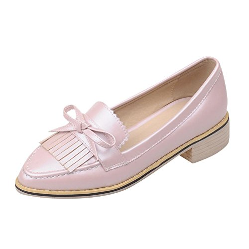 Carolbar Womens Bowknots Pointed Toe Fashion Sweet Candy Colors Low Heel Dress Shoes Pink dMGXAfnV