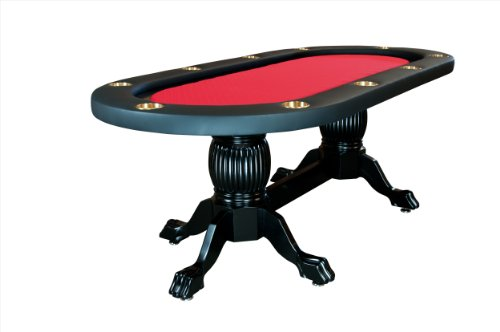 BBO Poker Elite Poker Table for 10 Players with Red Speed Cloth Playing Surface, 94 x 44-Inch Oval