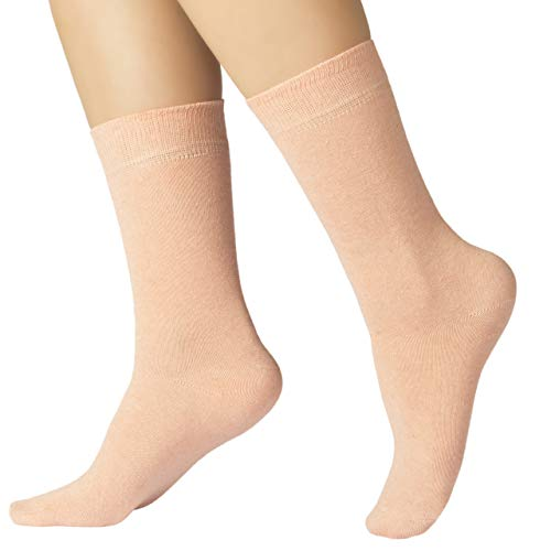 Ruby Slippers 4 Pairs Women's Eco Friendly Cotton Dress Socks / Crew Length / Business Casual (Peach, 9-12)
