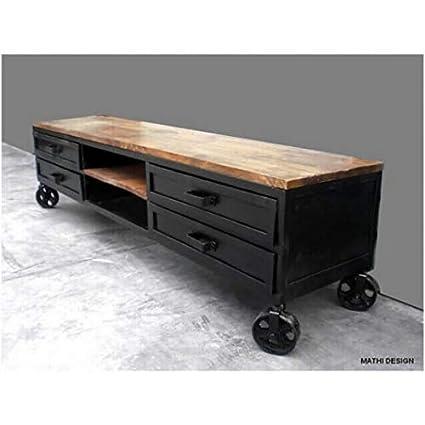 MATHI DESIGN - Mueble de televisión de diseño industrial, con ruedas, 160 cm