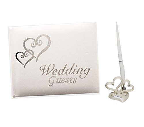 18th Street Weddings Wedding Guest Book and Pen Accessory Set with Silver Hearts