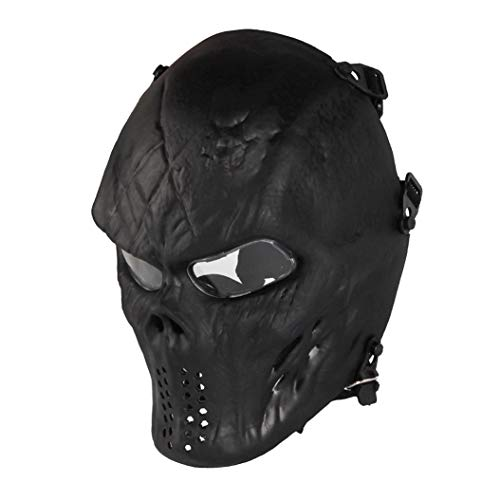 Paintball Mask, Skull Skeleton Full Face Airsoft Mask with Clear Lens Army Fans Supplies M06 Tactical Mask for Halloween Paintball BB Gun CS Game Cosplay and Masquerade Party (Black) -