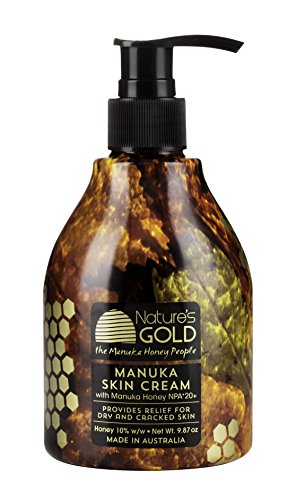 Manuka Skin Cream with Certified Australian Manuka Honey 9.87oz Pump Bottle by Nature's Gold - Best Natural Moisturizer - Soothes and Heals Dry, Itchy Skin - for Face and Body