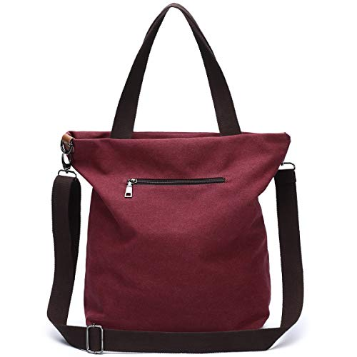 Handbag Use Size Women Canvas black Large Shopping Design Bag Shoulder School Travel Daily Work Crossbody Pocket Winered And For Casual Multi Ladies function zrqtRYxqw