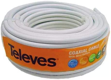 Televes 4355 ROHS Cable (Rollo 20M) COAXIAL TV 75OHM Color Blanco ...