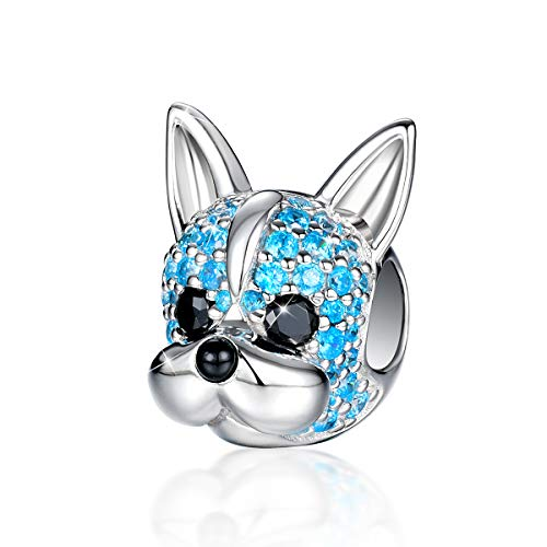FOREVER QUEEN 925 Sterling Silver Dog Charm, 5A Cubic Zirconia Animal Pet French Bulldog Charm Jewelry for Animal Lovers Women Girls with Elegant Gift Box