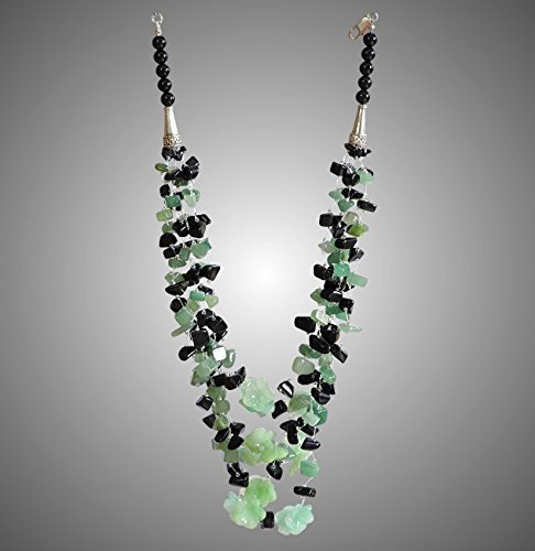 - Black Obsidian with Green Aventurine and Jade Flowers Necklace