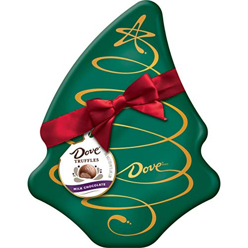 DOVE Milk Chocolate Truffles Tree Box Tin Christmas Candy Gift, 5.64-Ounce Tin (Treats Christmas Chocolate White)