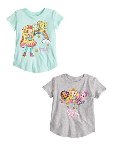 Girls Sunny Day T Shirt Toddler Hairdresser Friends Dog Tee 2 Pc (4T, Grey Green)