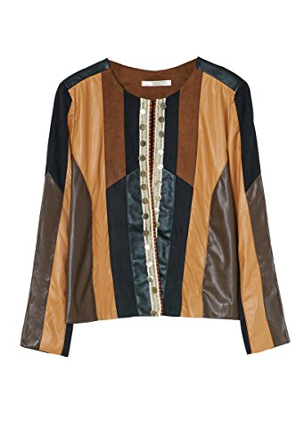 Camel Patchwork Manches Bi Femme Paris En Similicuir Longues Veste Similidaim matiere 3 Disponible Cherry Couleurs Dallas tZgwWq0x