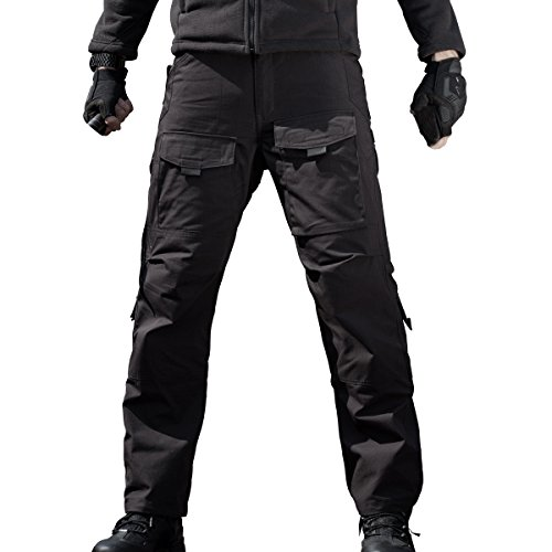 FREE SOLDIER Outdoor Men Teflon Scratch-resistant Pants Four Seasons Hiking Climbing Tactical Trousers (Black, 36W 31.5L)