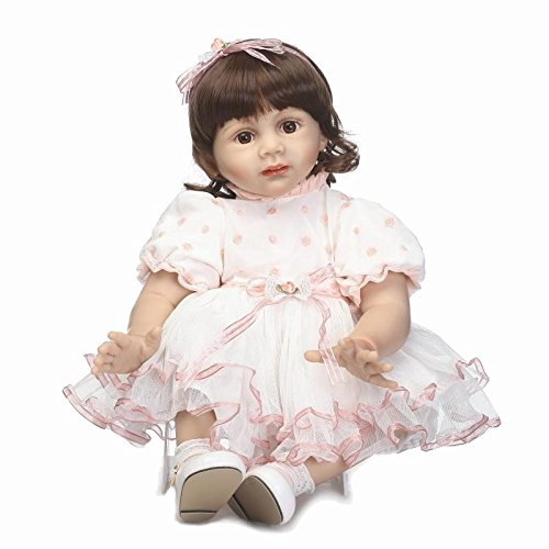 - NPK collection Reborn Toddler Silicone Newborn Baby Doll Girl 24inch 58cm Pasted Wig Pink Dress Adult Kids Accompay Doll Baby Clothing Model