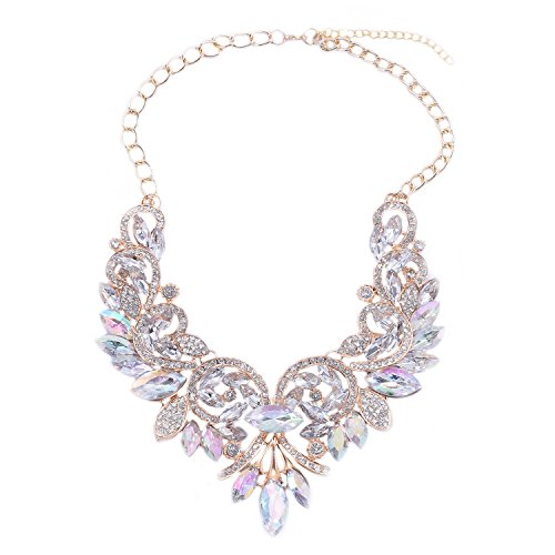Crystal Costume Jewelry (Women's Summer Fashion Jewelry AB Color Crystal Choker Statement Necklace Color White)