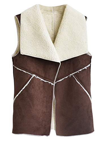 HUPOO Women's Stitching Cashmere Fleece Lined Faux Fur Suede Vests Waistcoats (Coffee, Large)