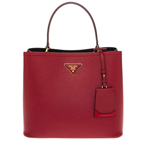 Prada Red Double Saffiano Leather Top Handle Bag with Gold -