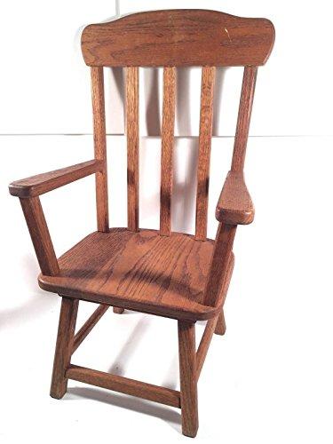 Vintage Oak Doll Chair High Back