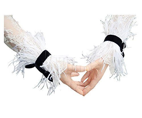 L'VOW Ostrich Feather Bracelet Wrist Cuffs Party Halloween Costume Pack of 2 (White) ()
