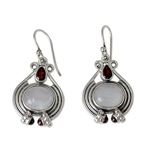 (NOVICA Multi-Gem Moonstone - Rainbow .925 Sterling Silver Dangle Earrings 'Mysterious Mist')