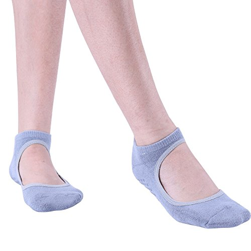 TiaoBug Women Ballet Dance Yoga Pilates Grip Non-slip Ankle Socks with Silicone Sole 1 Pair Grey