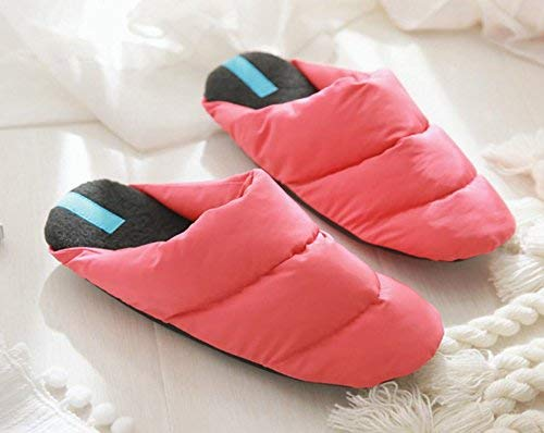 Pink JaHGDU Ladies Casual Wool Slippers Warm Down in Autumn and Winter Wool Slippers Red Pink Beige Slippers for Women
