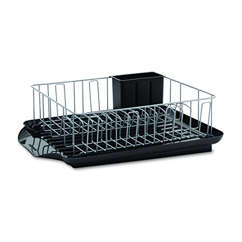 Farberware 5111363 3-Piece Rust-Resistant High Capacity Dish Rack with Removable Drain Board and Utensil Caddy, Black