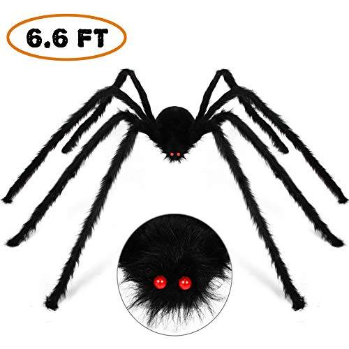 Halloween Decorations Outdoor Décor Giant Spider 6.6FT 200cm, Halloween Decoration Large Scary Furry Spiders – Black