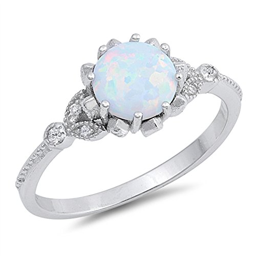 (Round White Simulated Opal Classic Vintage Ring .925 Sterling Silver Band Size 7 )