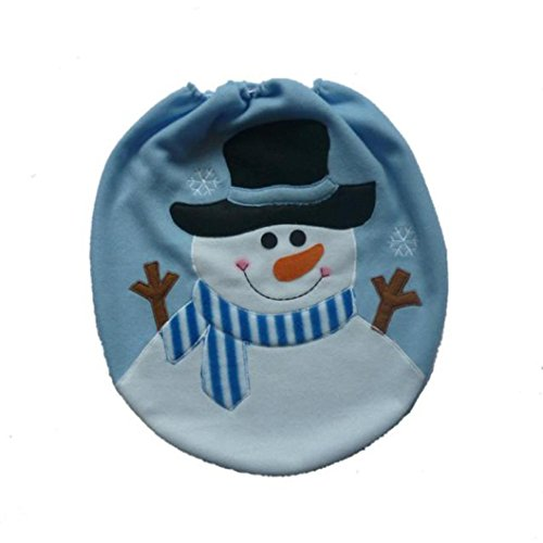 Snowman Toilet Cover,Han Shi Fashion Christmas Decoration Xmas Lid Single Cases Pad Mat (M, Colorful)