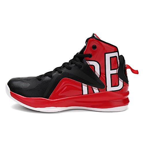 Elaphurus Men's Basketball Shoes Outdoor Sport Shoes Men's Basketball Shoes Hi-Top Trainers Shoes 1-Red 9SFUm58