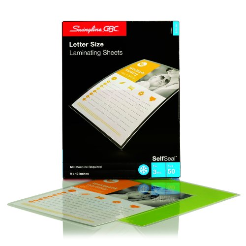 [Swingline GBC SelfSeal Self Adhesive Laminating Sheet, Letter Size, Glossy, 3 Mil, 50 Pack (3747307)] (Self Adhesive Laminating Pouch)