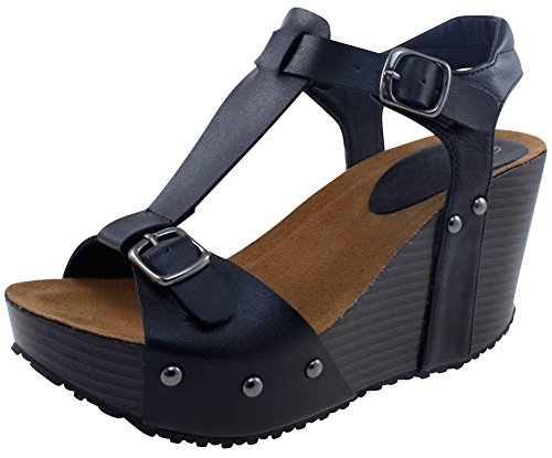 Cambridge Select Women's Open Toe T-Strap Buckled Ankle Studded Chunky Platform Wedge Sandal (8.5 B(M) US, Black PU) ()