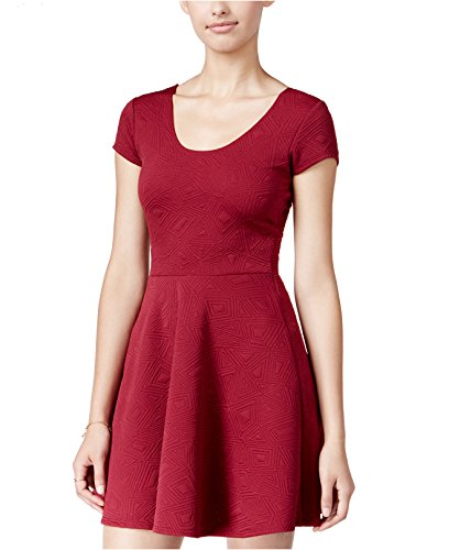 Planet Gold Juniors' Scoop-Neck Fit & Flare Dress (Burgundy, - Clothing Planet Gold