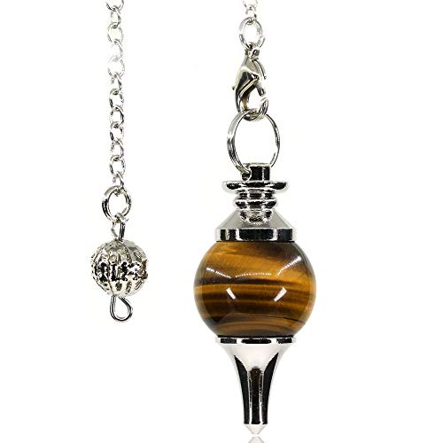 - AMANDASTONES Natural Golden Tiger Eye Gemstone Dowsing Crystal Reiki Healing Chakra Point Pendulum with 40mm Chain