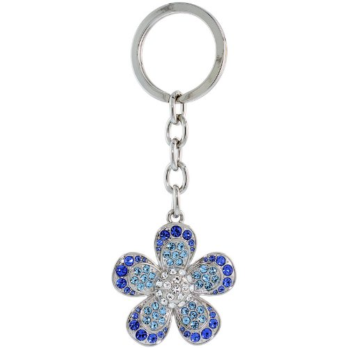 Large Flower Key Chain, Key Ring, Key Holder, Key Tag , Key Fob, w/ Clear, Blue Topaz-color & Blue Sapphire-color Swarovski Crystals, 4-1/4