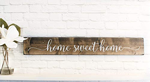 Dark Walnut Home Sweet Home Wood Sign Sayings - Inspirational Wood Rustic Wall Decor -
