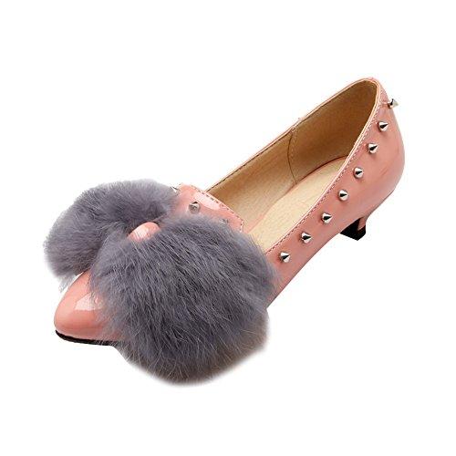 Charme Voet Dames Nieuwe Mode Bont Puntschoen Lage Hak Platte Schoenen Roze