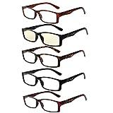 LIANSAN Reading Computer Glasses Anti Glare 1.00 1.25 1.50 1.75 2.00 2.25 2.50 2.75 3.00 3.50 3.75 4.00 Blue Light Glasses with Anti-blue for Women Men 6500G 5 packs +1.50