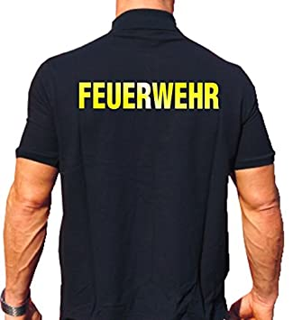 22df52c9 Fire Brigade Polo Shirt – Reflective Yellow Lettering on Both Sides [German  Language] blue