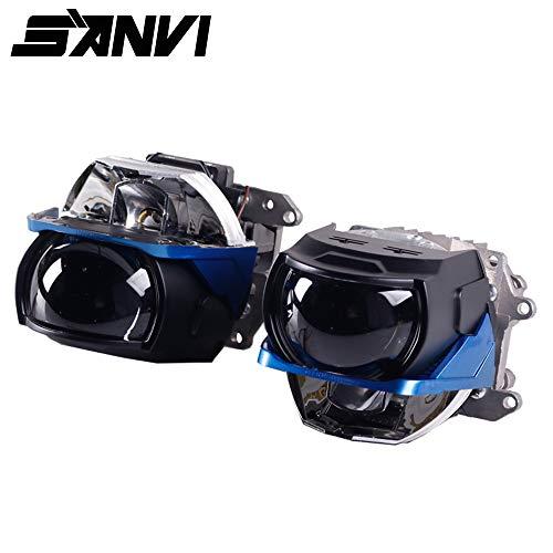 Sanvi 2PCS L82 Bi LED&Laser Projector Lens Headlight 60W 6000K Hi Low Beam Auto LED Laser Headlight for Car Light retrofit Kits ()