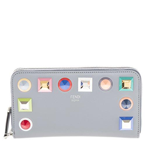 (Fendi Women's Studded Trim Zip-Around Wallet Grey)