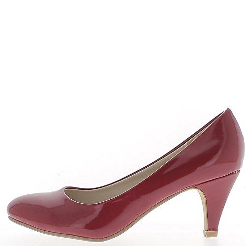 Escarpins classiques rouges vernis à petits talons de 6,5cm