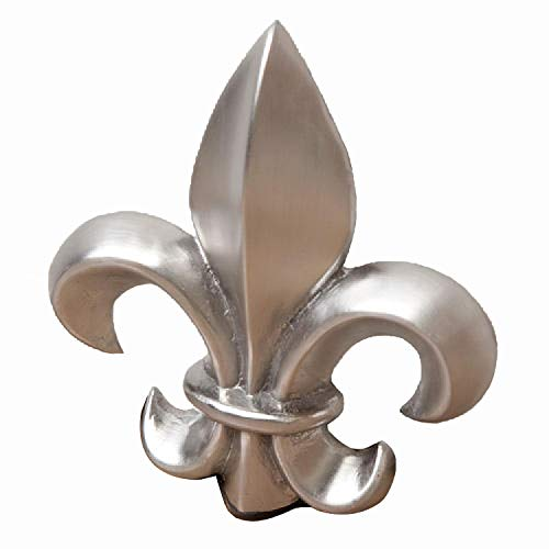 Casa Hardware Solid Brass Fleur De Lis Wedge Doorstop - Brushed Nickel ()
