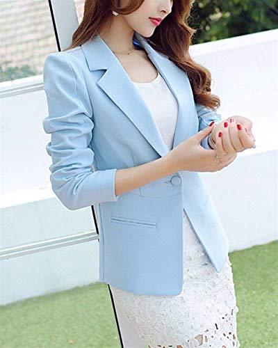 Tailleur Cappotto Business Eleganti Manica Alla Button Himmelblau Moda Bavero Primaverile Con Autunno Giacca Colore Blazer Da Ufficio Grazioso Lunga Giacche Donna Puro Tasche AgSqAd