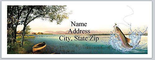 150 Personalized Matte Address Labels Fishing Fish Jumping Out (P 581)