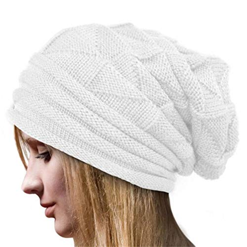 Mnyycxen Couple Warm Winter Pleated Cuffed Wool Knit Hat, Unisex Knit Beanie Hat Slouchy Skull Cap Unisex Beanies (White)