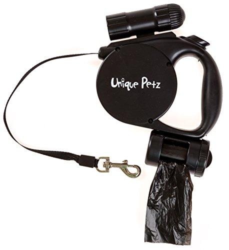 Omega Flashlight - UNIQUE PETZ 3-in-1 Pet Retractable Leash - Black