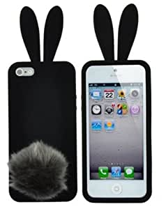 GummyCase Premium 3D Lovely Cute Bunny Rabbit Cartoon Silicon Soft Case Cover with Furry Tail Stand for Apple iPhone 5/5S (Black) - Retail Packaging